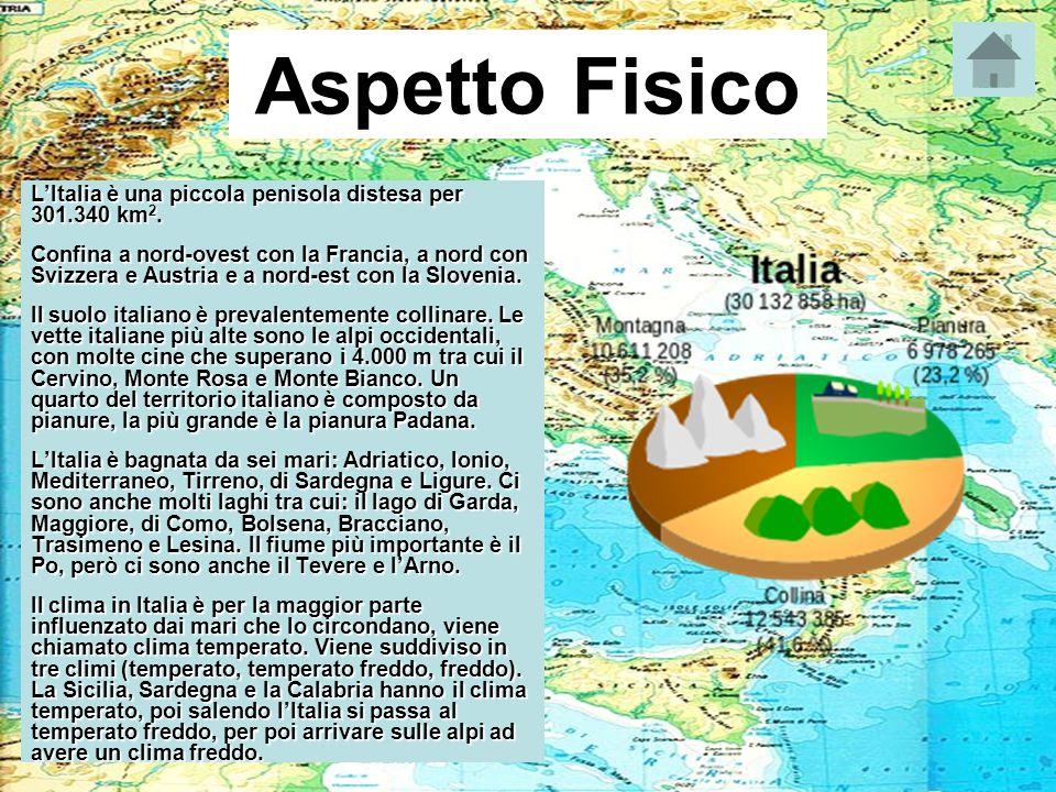 Aspetto Fisico L'Italia è una piccola penisola distesa per 301.340 km 2. Confina a nord-ovest con la Francia, a nord con Svizzera e Austria e a nord-e