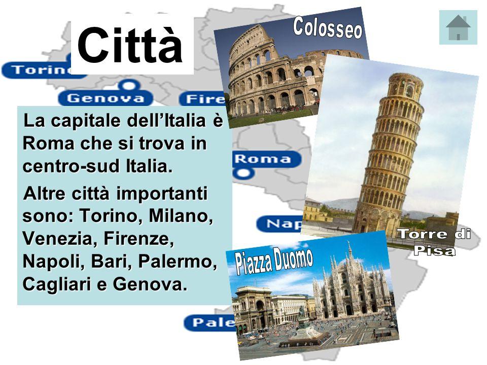 Città La capitale dell'Italia è Roma che si trova in centro-sud Italia. Altre città importanti sono: Torino, Milano, Venezia, Firenze, Napoli, Bari, P