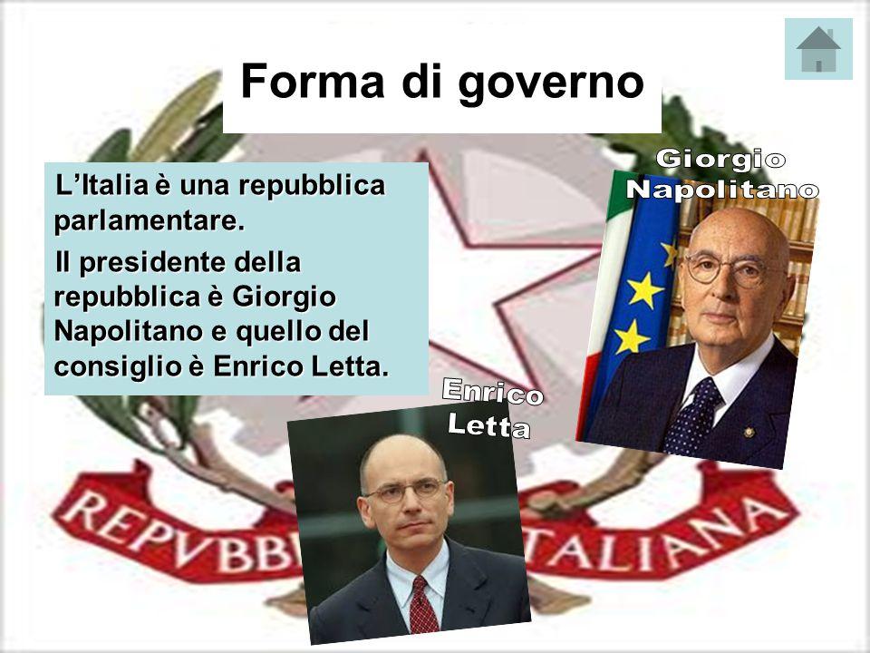Forma di governo L'Italia è una repubblica parlamentare. Il presidente della repubblica è Giorgio Napolitano e quello del consiglio è Enrico Letta.