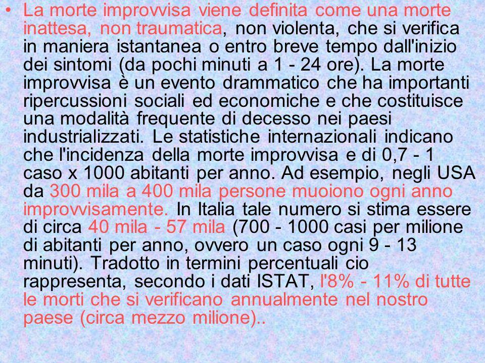 Nel Veneto, il numero di morti improvvise per anno e stimato essere di 4380, tenendo conto che lo studio F.A.C.S., condotto in Friuli, ha evidenziato un incidenza di morte improvvisa pari a 0,95 casi per mille abitanti per anno.