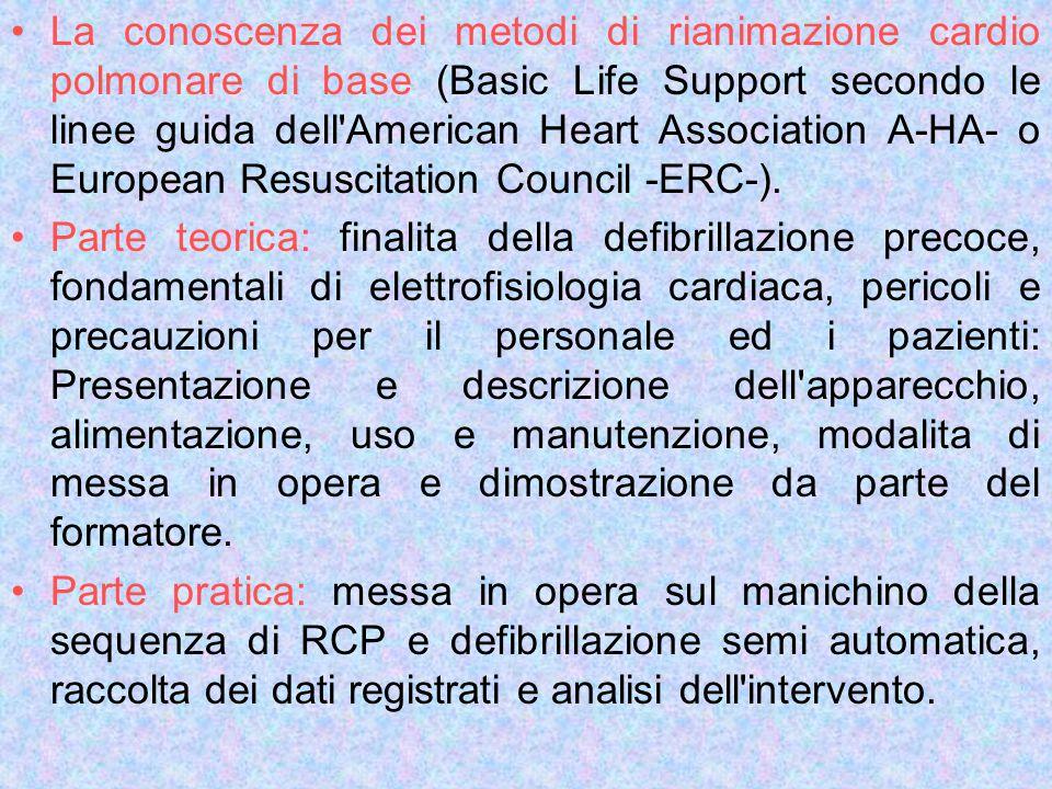 La conoscenza dei metodi di rianimazione cardio polmonare di base (Basic Life Support secondo le linee guida dell'American Heart Association A-HA- o E