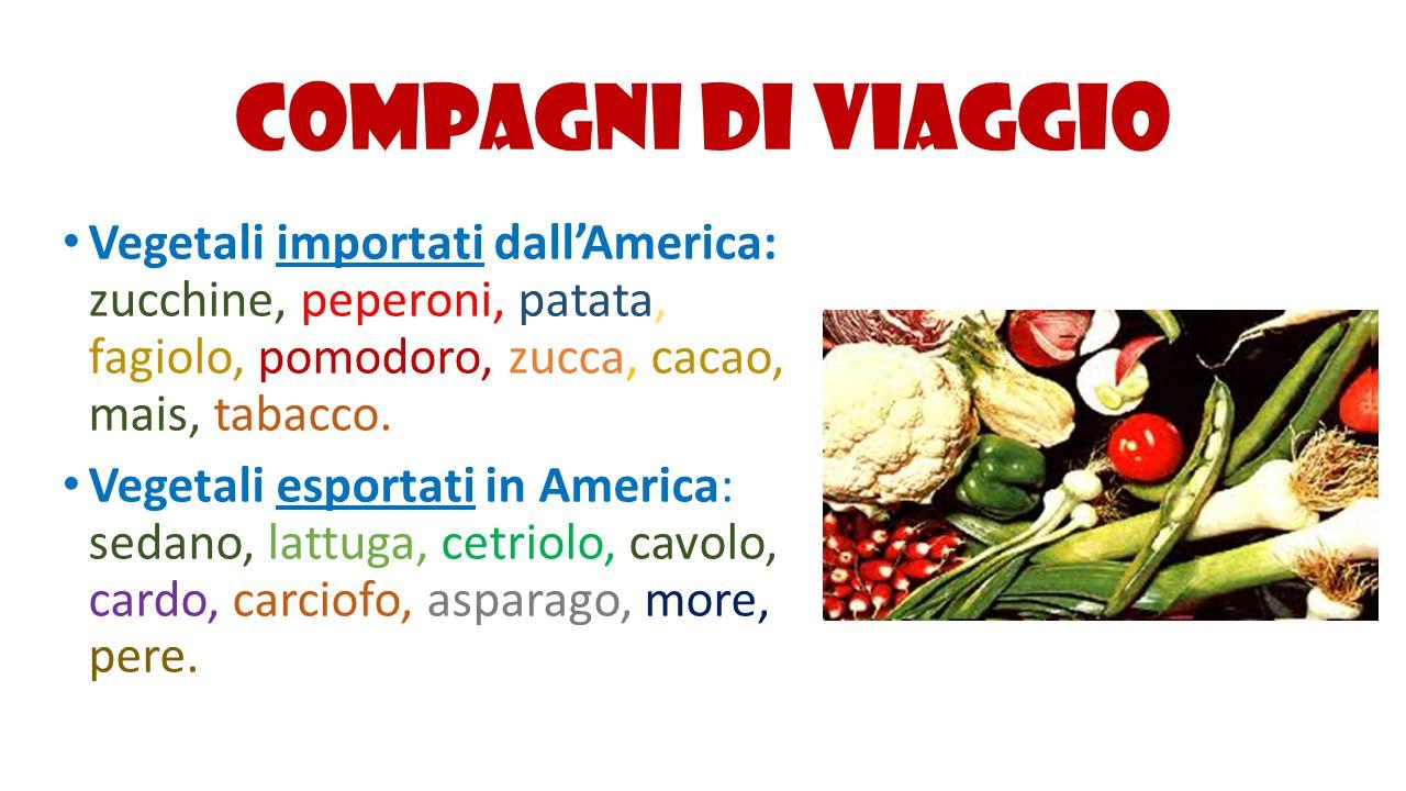 Compagni di viaggio Vegetali importati dall'America: zucchine, peperoni, patata, fagiolo, pomodoro, zucca, cacao, mais, tabacco. Vegetali esportati in