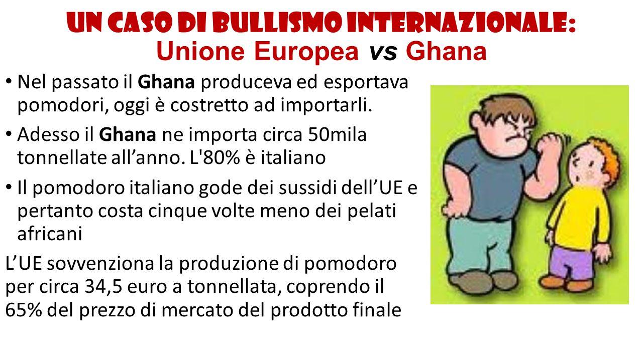 Un caso di bullismo internazionale: Unione Europea vs Ghana Intorno al 2000, il Ghana, pressato dai programmi del Fondo monetario internazionale, ha dovuto ridurre i dazi doganali su molti prodotti importati, tra cui il concentrato di pomodoro.