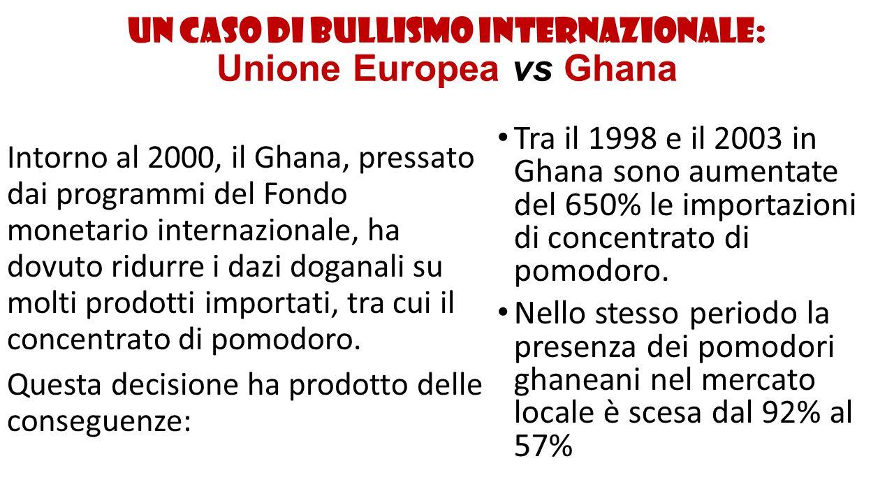 Un caso di bullismo internazionale: Unione Europea vs Ghana Il risultato è che migliaia di contadini ghanesi si sono trovati sul lastrico o sono stati costretti ad emigrare e a raccogliere i prodotti dei nostri campi.