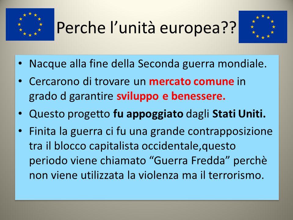 EUROPA UNITA La bandiera dell'Europa raffigura DODICI stelle dorate disposte in cerchio su campo blu. La bandiera venne formalmente adottata dall'asse