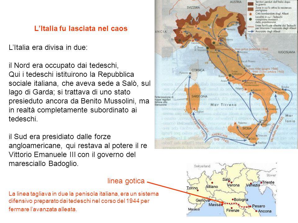 L'Italia fu lasciata nel caos L'Italia era divisa in due: il Nord era occupato dai tedeschi, Qui i tedeschi istituirono la Repubblica sociale italiana