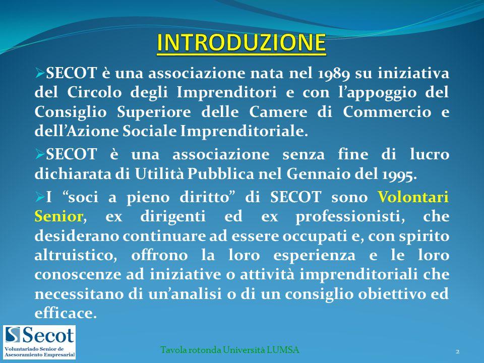  SECOT è una associazione nata nel 1989 su iniziativa del Circolo degli Imprenditori e con l'appoggio del Consiglio Superiore delle Camere di Commerc