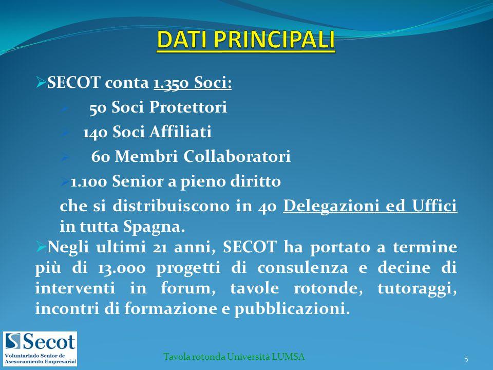  SECOT conta 1.350 Soci:  50 Soci Protettori  140 Soci Affiliati  60 Membri Collaboratori  1.100 Senior a pieno diritto che si distribuiscono in