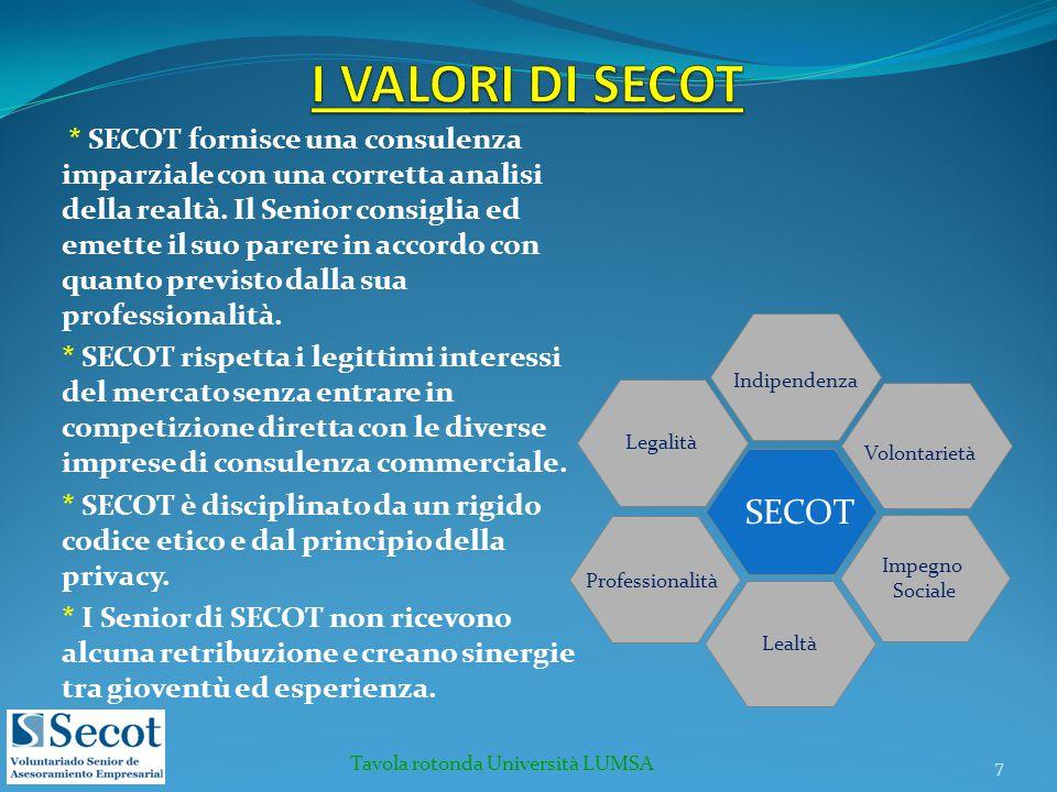 * SECOT fornisce una consulenza imparziale con una corretta analisi della realtà. Il Senior consiglia ed emette il suo parere in accordo con quanto pr