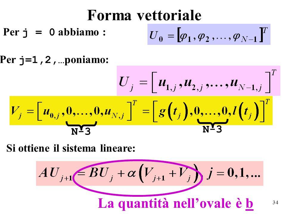 34 Forma vettoriale Per j = 0 abbiamo : Per j=1,2,… poniamo: Si ottiene il sistema lineare: N-3 La quantità nell'ovale è b N-3