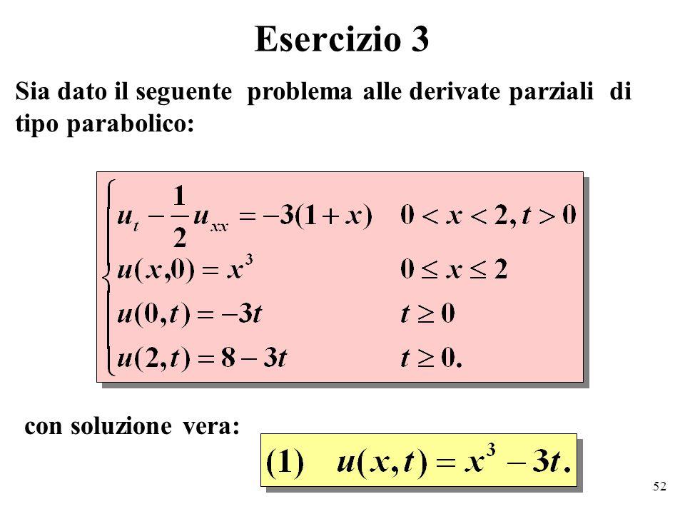 52 Esercizio 3 Sia dato il seguente problema alle derivate parziali di tipo parabolico: con soluzione vera: