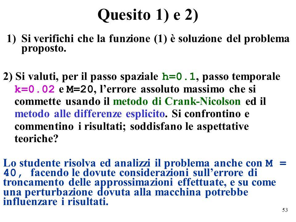 53 Quesito 1) e 2) 2) Si valuti, per il passo spaziale h=0.1, passo temporale k=0.02 e M=20, l'errore assoluto massimo che si commette usando il metodo di Crank-Nicolson ed il metodo alle differenze esplicito.