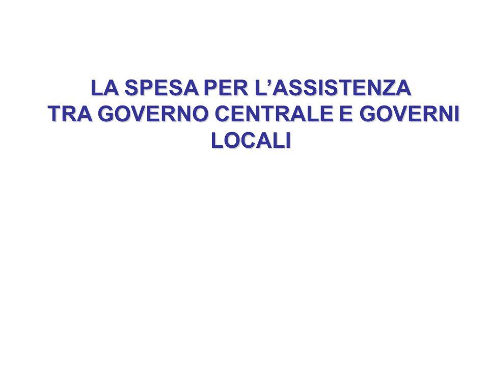 LA SPESA PER L'ASSISTENZA TRA GOVERNO CENTRALE E GOVERNI LOCALI TRA GOVERNO CENTRALE E GOVERNI LOCALI