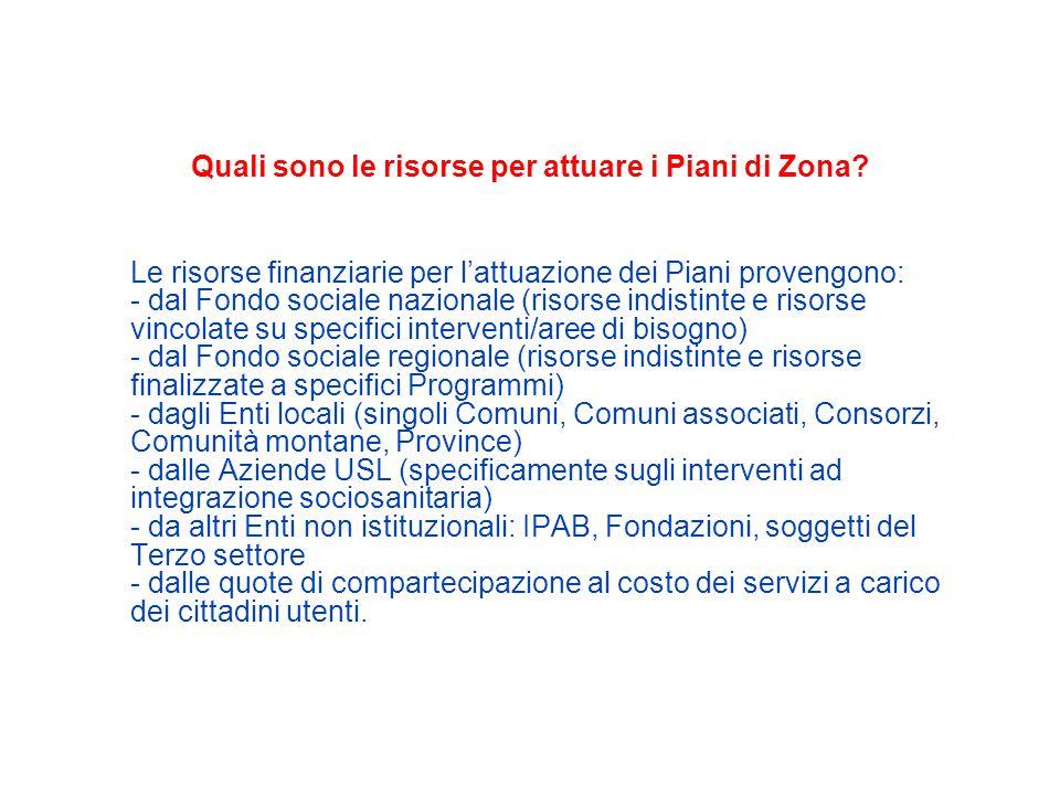 Quali sono le risorse per attuare i Piani di Zona.