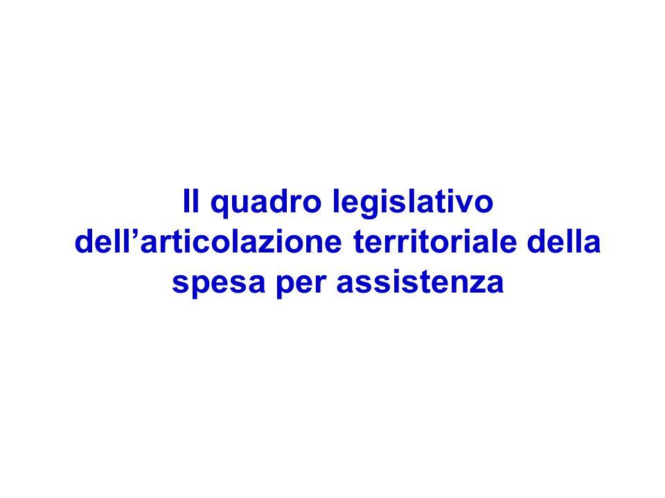 Il quadro legislativo dell'articolazione territoriale della spesa per assistenza
