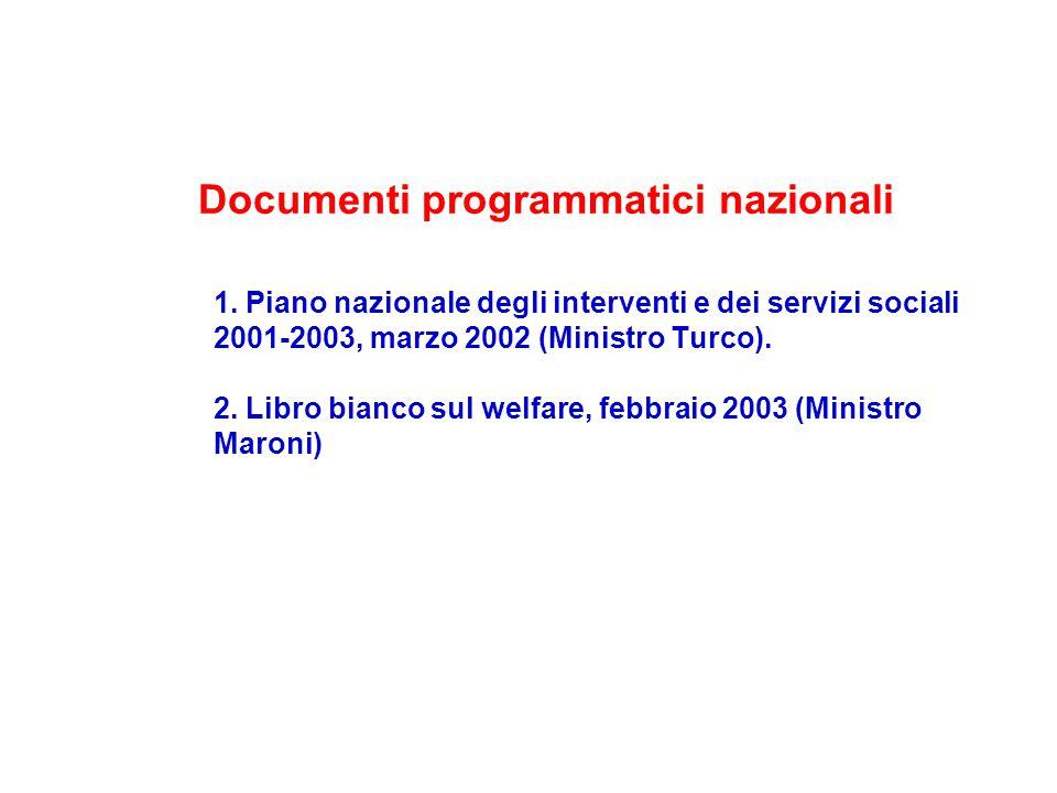 1. Piano nazionale degli interventi e dei servizi sociali 2001-2003, marzo 2002 (Ministro Turco).
