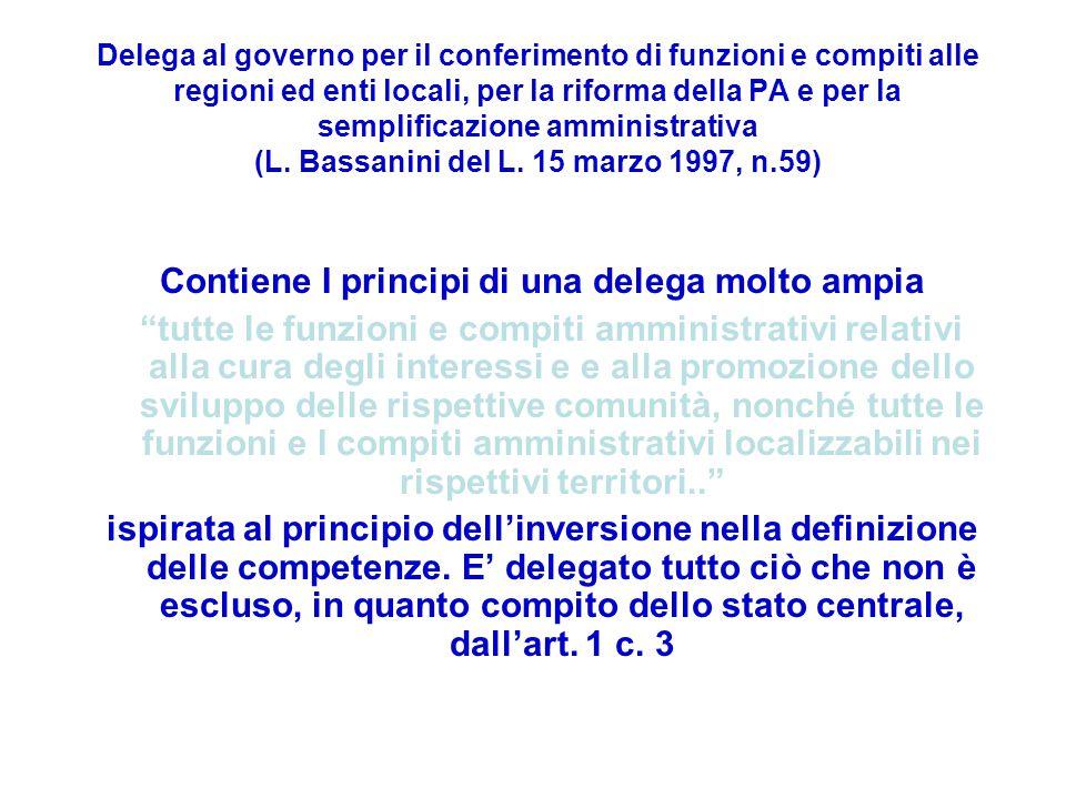 Delega al governo per il conferimento di funzioni e compiti alle regioni ed enti locali, per la riforma della PA e per la semplificazione amministrativa (L.