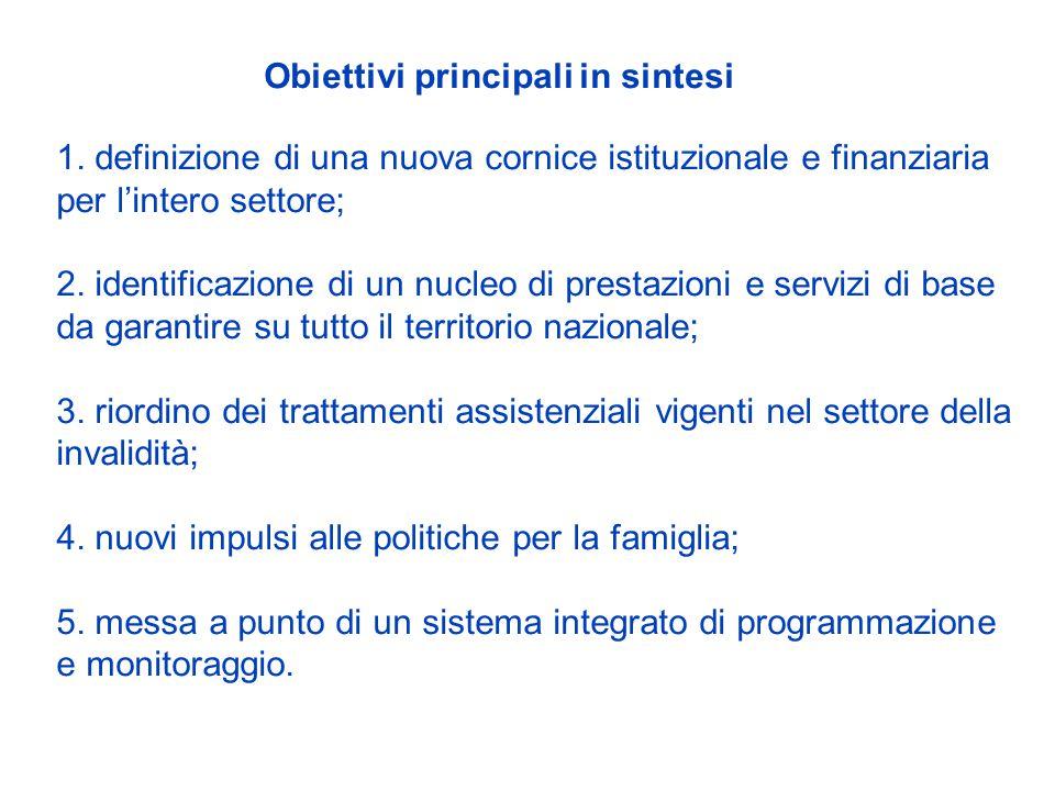 1. definizione di una nuova cornice istituzionale e finanziaria per l'intero settore; 2.