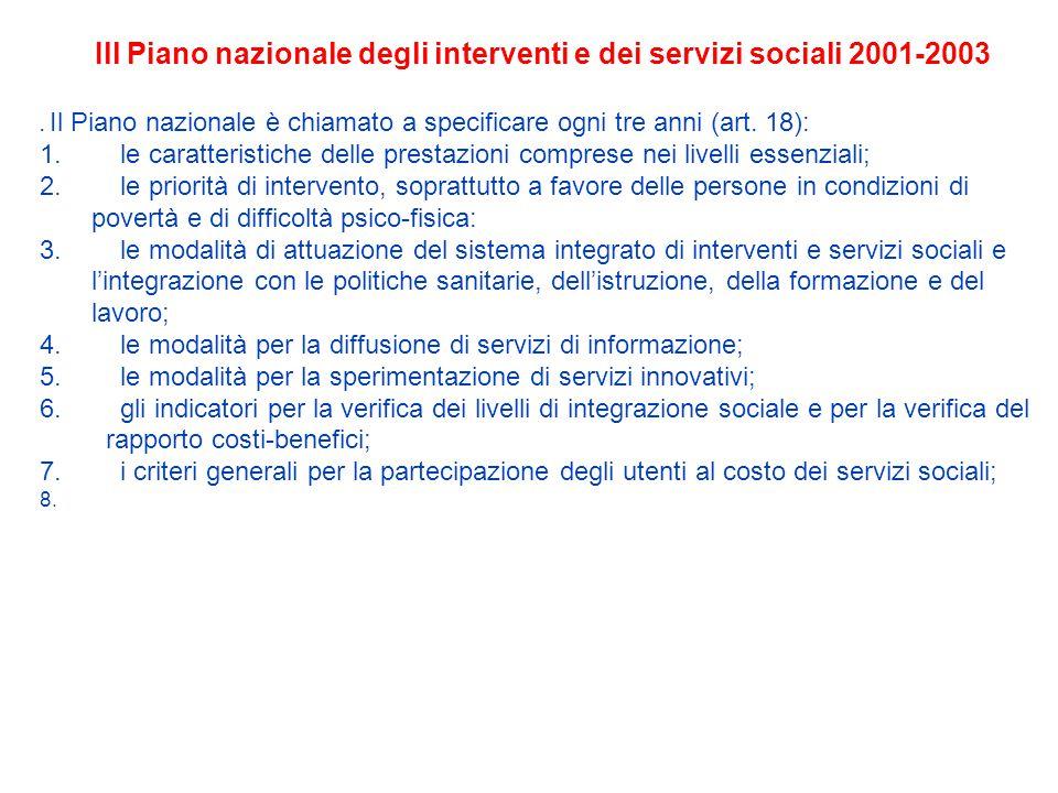 Ill Piano nazionale degli interventi e dei servizi sociali 2001-2003.