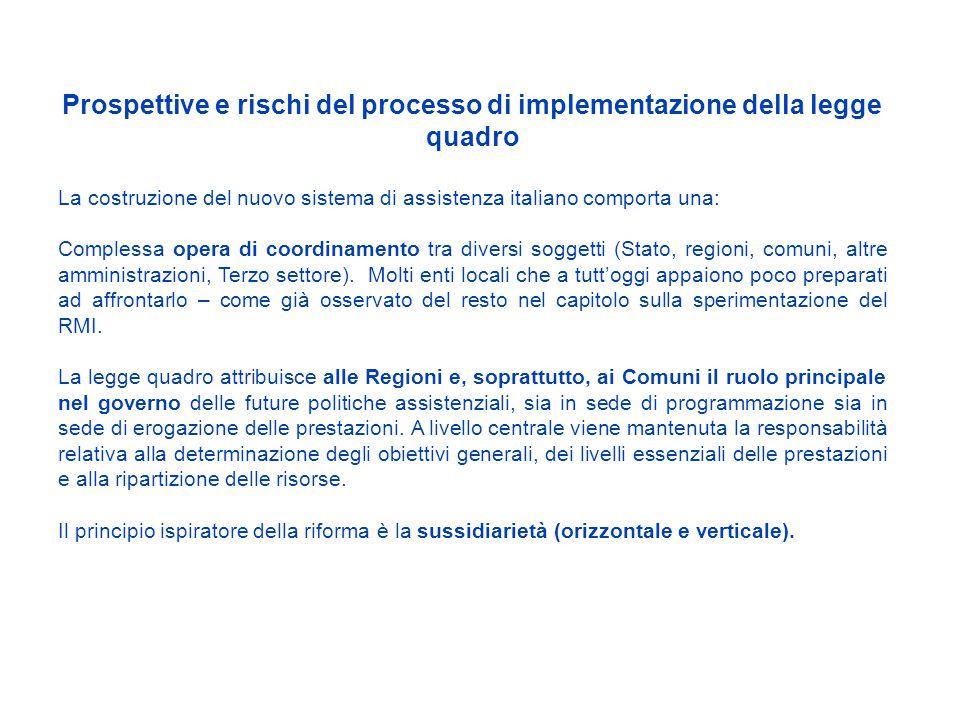 Prospettive e rischi del processo di implementazione della legge quadro La costruzione del nuovo sistema di assistenza italiano comporta una: Complessa opera di coordinamento tra diversi soggetti (Stato, regioni, comuni, altre amministrazioni, Terzo settore).