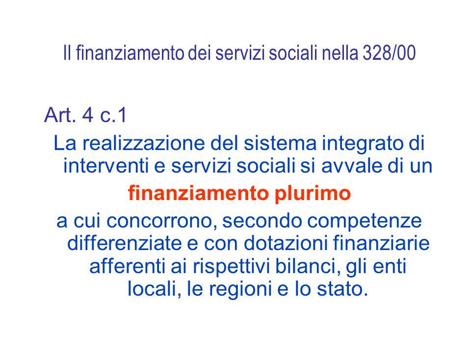 Il finanziamento dei servizi sociali nella 328/00 Art.