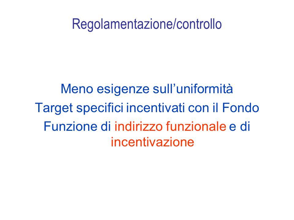 Regolamentazione/controllo Meno esigenze sull'uniformità Target specifici incentivati con il Fondo Funzione di indirizzo funzionale e di incentivazione