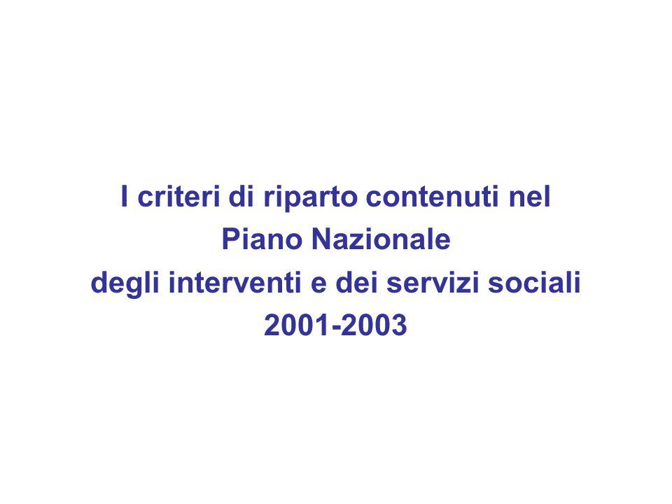 I criteri di riparto contenuti nel Piano Nazionale degli interventi e dei servizi sociali 2001-2003