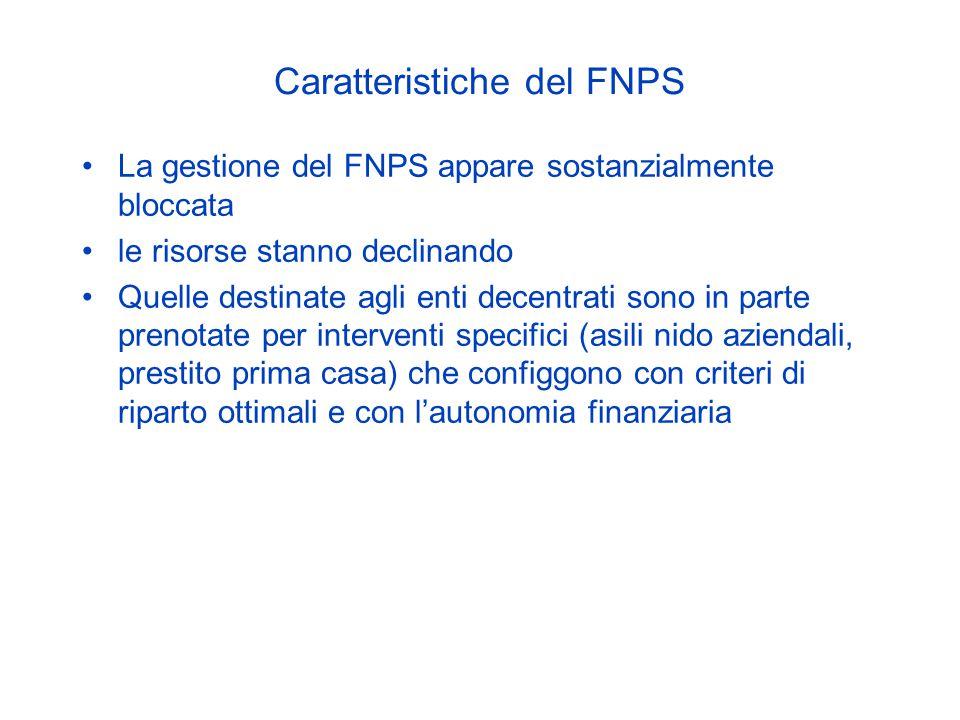 Caratteristiche del FNPS La gestione del FNPS appare sostanzialmente bloccata le risorse stanno declinando Quelle destinate agli enti decentrati sono in parte prenotate per interventi specifici (asili nido aziendali, prestito prima casa) che configgono con criteri di riparto ottimali e con l'autonomia finanziaria