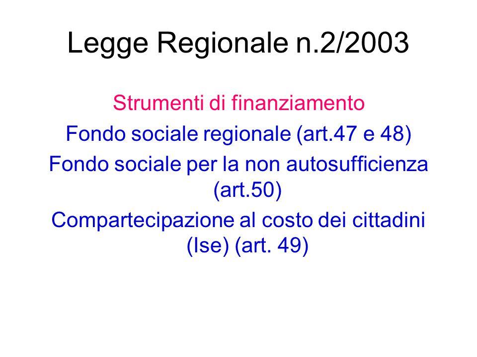 Legge Regionale n.2/2003 Strumenti di finanziamento Fondo sociale regionale (art.47 e 48) Fondo sociale per la non autosufficienza (art.50) Compartecipazione al costo dei cittadini (Ise) (art.