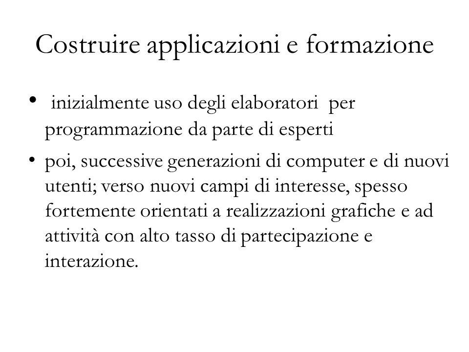 Costruire applicazioni e formazione inizialmente uso degli elaboratori per programmazione da parte di esperti poi, successive generazioni di computer