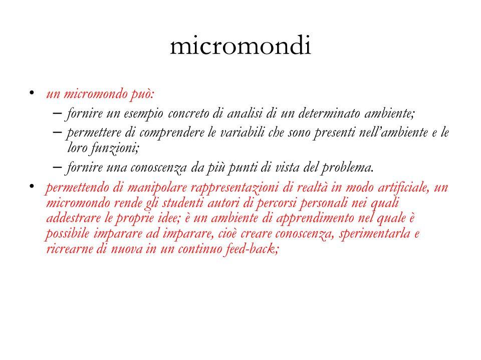 micromondi un micromondo può: – fornire un esempio concreto di analisi di un determinato ambiente; – permettere di comprendere le variabili che sono p