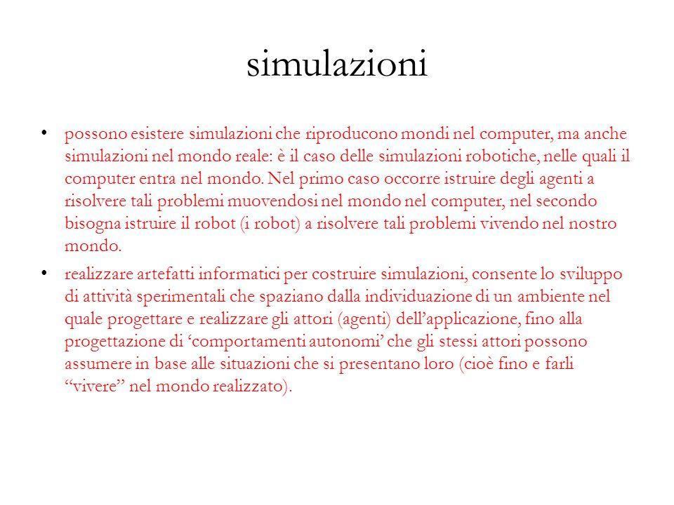 simulazioni possono esistere simulazioni che riproducono mondi nel computer, ma anche simulazioni nel mondo reale: è il caso delle simulazioni robotic
