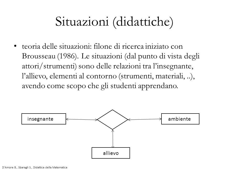 teoria delle situazioni: filone di ricerca iniziato con Brousseau (1986). Le situazioni (dal punto di vista degli attori/strumenti) sono delle relazio
