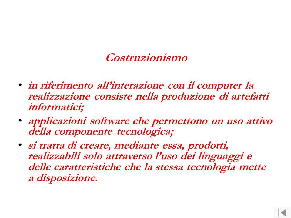 Costruzionismo in riferimento all'interazione con il computer la realizzazione consiste nella produzione di artefatti informatici; applicazioni softwa