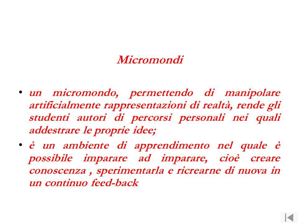 Micromondi un micromondo, permettendo di manipolare artificialmente rappresentazioni di realtà, rende gli studenti autori di percorsi personali nei qu