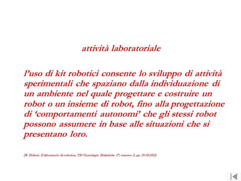 attività laboratoriale l'uso di kit robotici consente lo sviluppo di attività sperimentali che spaziano dalla individuazione di un ambiente nel quale