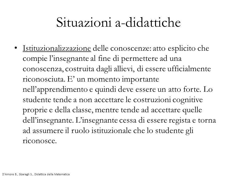 Istituzionalizzazione delle conoscenze: atto esplicito che compie l'insegnante al fine di permettere ad una conoscenza, costruita dagli allievi, di es