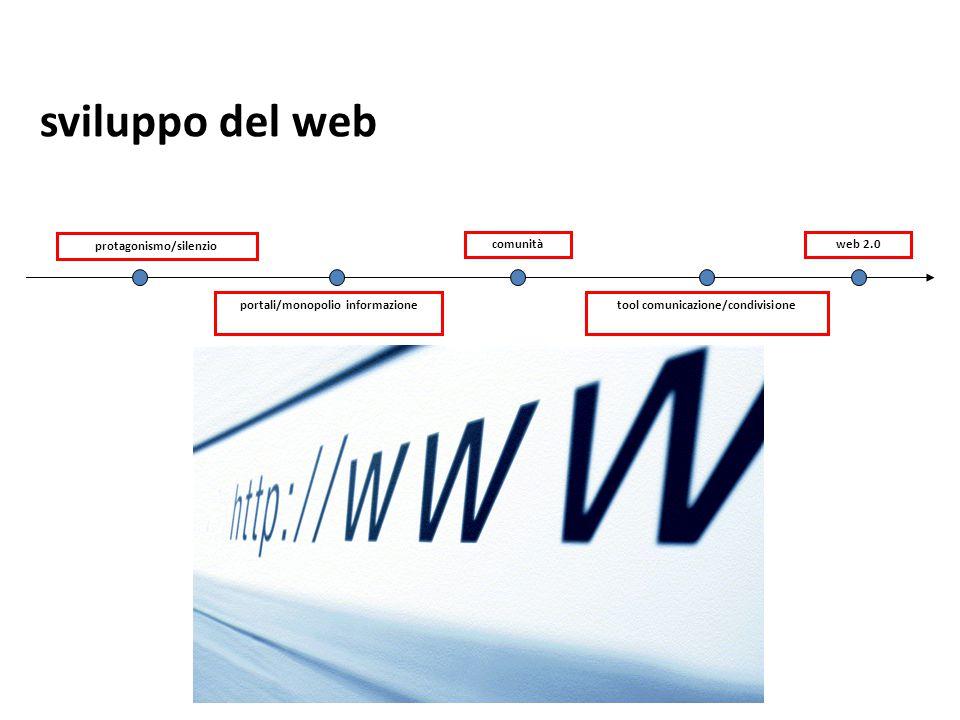 protagonismo/silenzio portali/monopolio informazionetool comunicazione/condivisione comunitàweb 2.0 sviluppo del web
