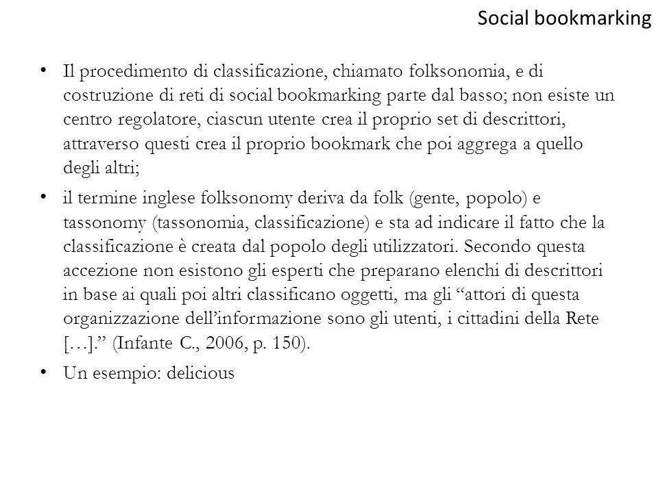 Il procedimento di classificazione, chiamato folksonomia, e di costruzione di reti di social bookmarking parte dal basso; non esiste un centro regolat