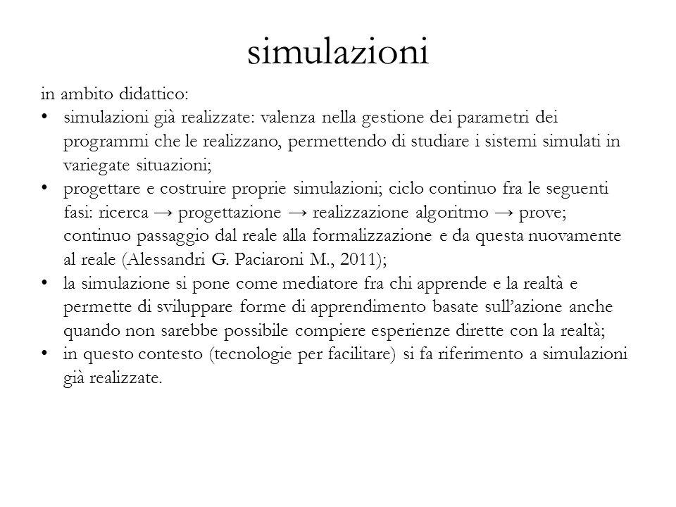 simulazioni in ambito didattico: simulazioni già realizzate: valenza nella gestione dei parametri dei programmi che le realizzano, permettendo di stud
