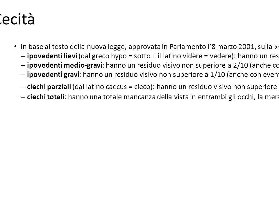 Cecità In base al testo della nuova legge, approvata in Parlamento l'8 marzo 2001, sulla «Classificazione e quantificazione delle minorazioni visive e