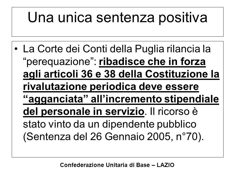 """Confederazione Unitaria di Base – LAZIO Una unica sentenza positiva La Corte dei Conti della Puglia rilancia la """"perequazione"""": ribadisce che in forza"""