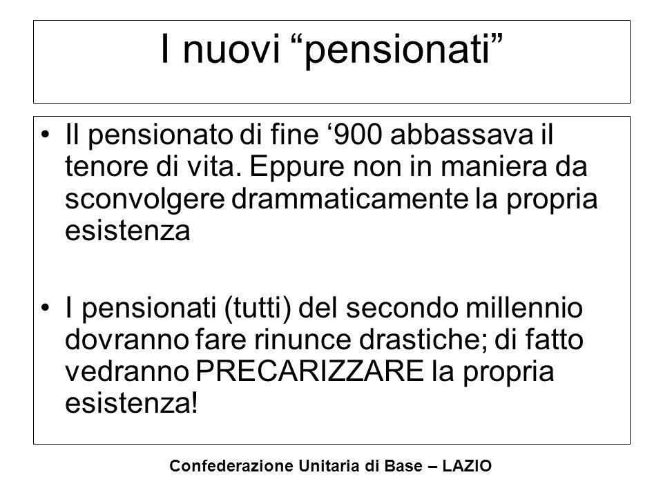 """Confederazione Unitaria di Base – LAZIO I nuovi """"pensionati"""" Il pensionato di fine '900 abbassava il tenore di vita. Eppure non in maniera da sconvolg"""
