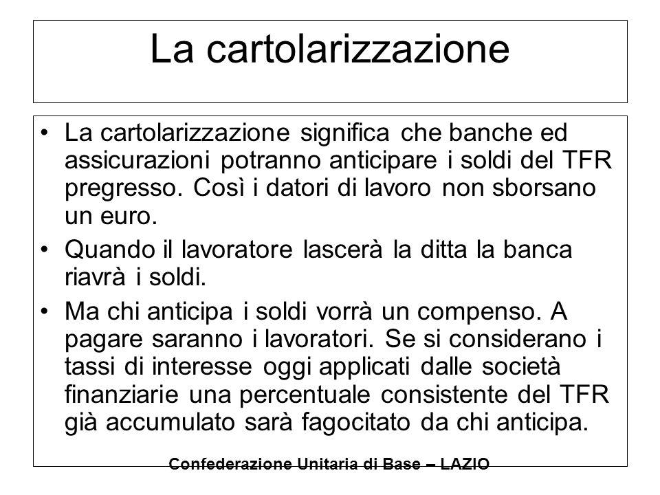 Confederazione Unitaria di Base – LAZIO La cartolarizzazione La cartolarizzazione significa che banche ed assicurazioni potranno anticipare i soldi de