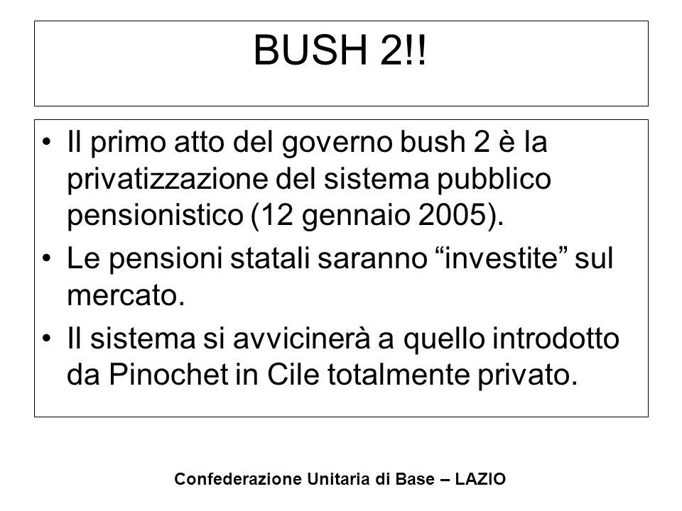 Confederazione Unitaria di Base – LAZIO BUSH 2!! Il primo atto del governo bush 2 è la privatizzazione del sistema pubblico pensionistico (12 gennaio