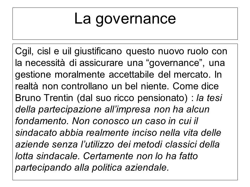 """Confederazione Unitaria di Base – LAZIO La governance Cgil, cisl e uil giustificano questo nuovo ruolo con la necessità di assicurare una """"governance"""""""
