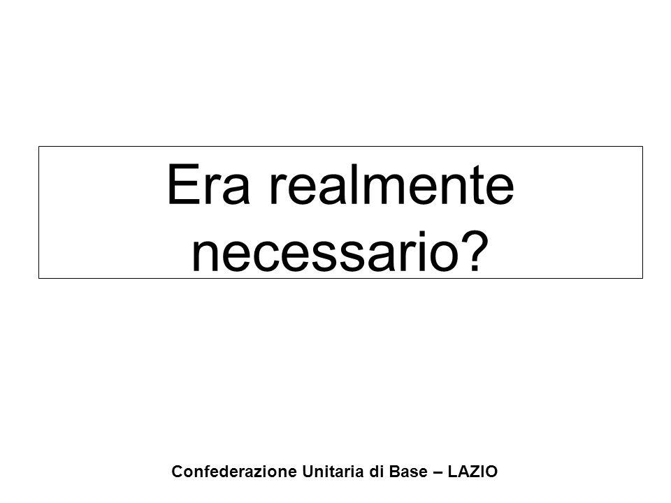 Confederazione Unitaria di Base – LAZIO Era realmente necessario?