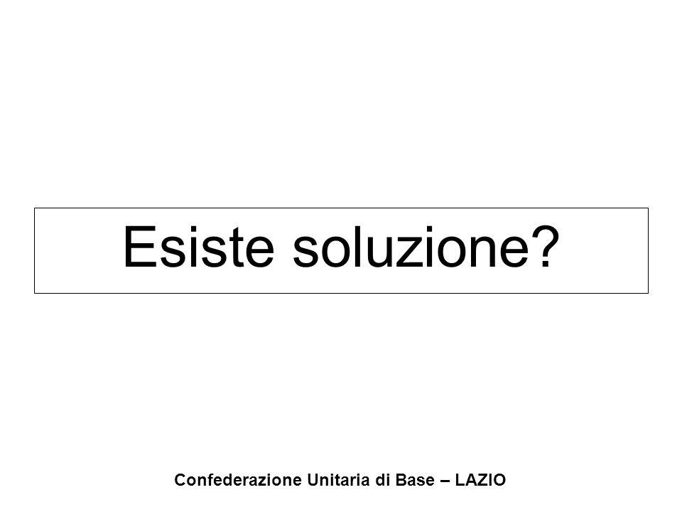 Confederazione Unitaria di Base – LAZIO Esiste soluzione?