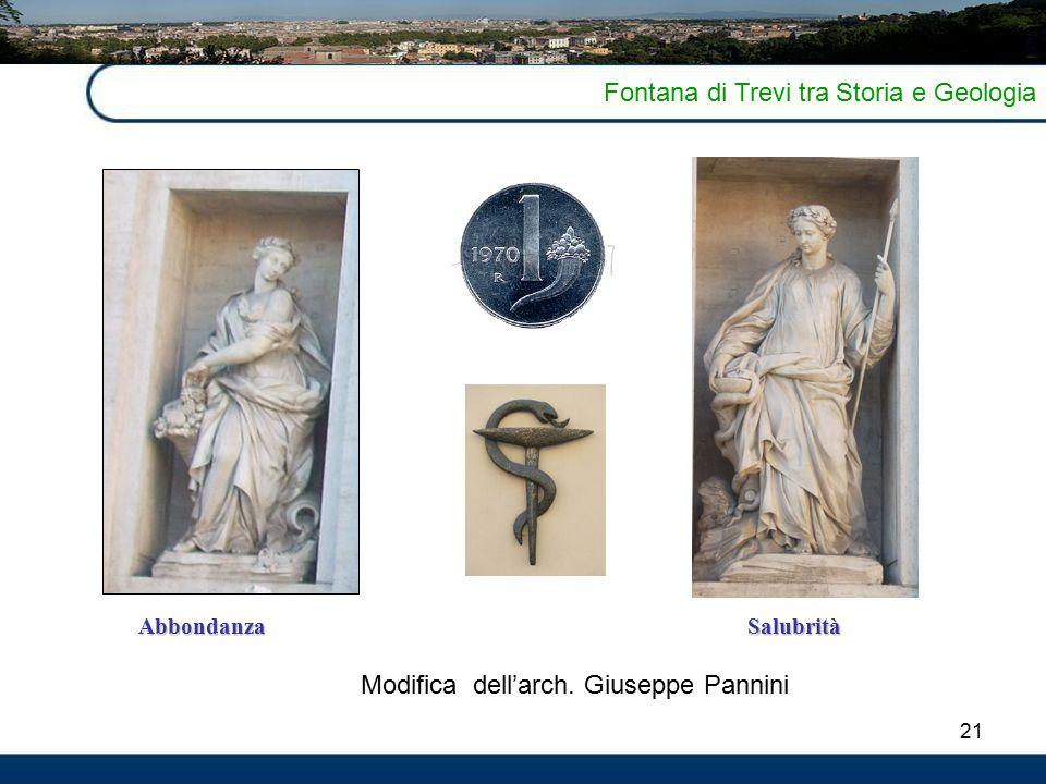 21 Fontana di Trevi tra Storia e Geologia AbbondanzaSalubrità Modifica dell'arch. Giuseppe Pannini