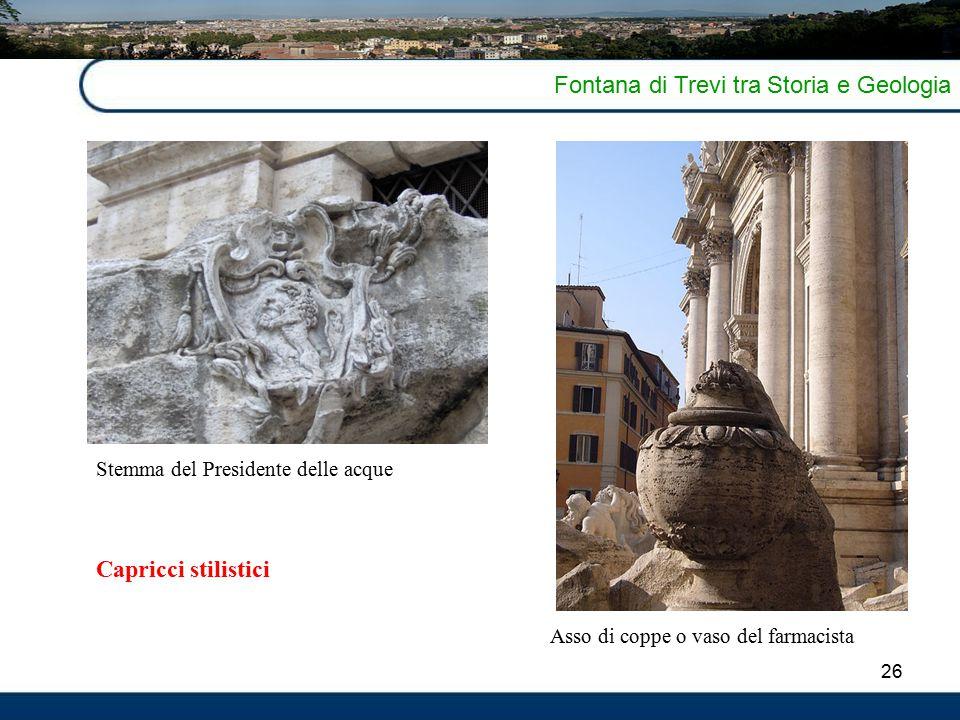 26 Fontana di Trevi tra Storia e Geologia Asso di coppe o vaso del farmacista Stemma del Presidente delle acque Capricci stilistici